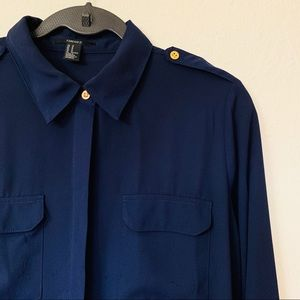 Forever21 Navy Blue Utility Long Sleeve Blouse